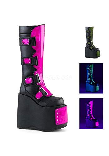 neon Hologram Leather SLAY Demonia Blk 310 Pink Vegan neo qxTzRg6wX