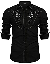 Men's Stylish Sequin Embroidered Long Sleeve Shirt
