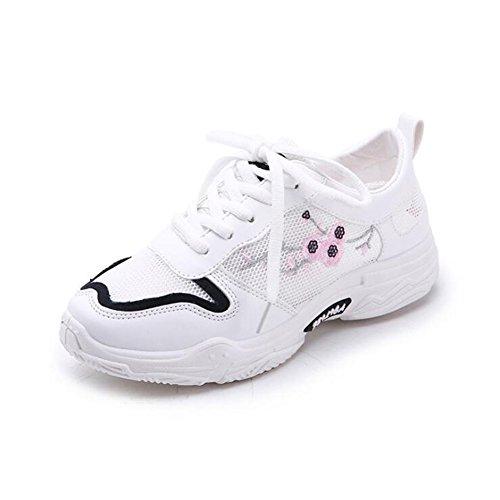 Zapatos de Mujer Tulle Spring Fall Comfort Knit Sneakers, Tacón Plano Punta Redonda con Cordones, Suelas Transpirables Suelas Zapatos Casuales, para IR de Compras, Citas, Correr Segundo