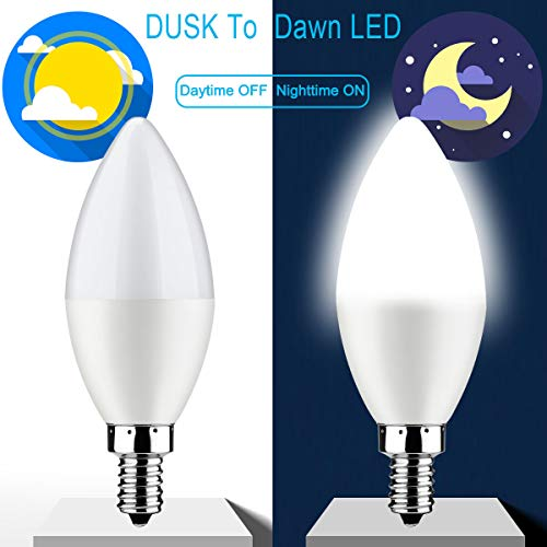 Dusk to Dawn Light Bulb,E12 Candelabra Sensor Light Bulbs Auto On/Off 6W 550Lm Daylight White 6000K for Indoor/Outdoor Yard Porch Patio Garage Garden,Pack of 2