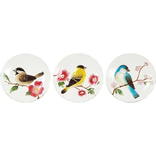 Songbird Art Glass Plates, 8'' Diameter Assortment of 3 by Carson Home