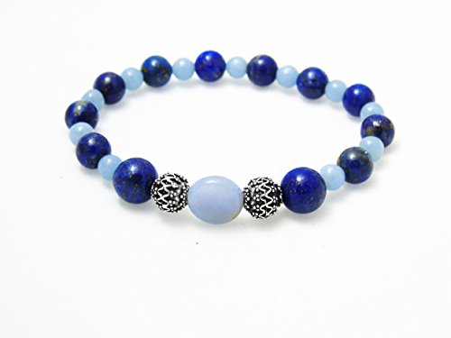 e Blue Chalcedony Bracelet New Year Goals Exploration - Fall Winter Christmas Gifts Collection (Lapis Lazuli Cord)