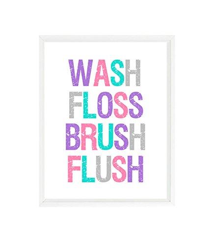 (Girl Bathroom Wall Art, Wash, Floss, Brush, Flush, Restroom Print, Bathroom Decor, Pink, Purple, Aqua, Gray, Bathroom Sign Decor, Kids Art)