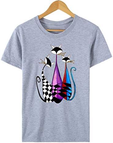 レディース Tシャツ ブラウス 夏服 カットソー 猫柄 プリント 半袖 可愛い トップス カジュアル 無地 ルームウェア 快適 ゆったり 薄手 通気 吸汗速乾 プルオーバー 体型カバー インナー ノルダレス シンプル 普段着 プレゼント カップル 通勤 通学