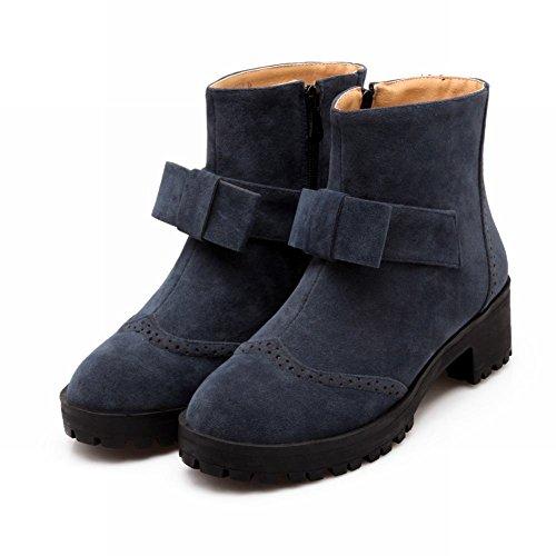 Bows Simple Short Deep Womens Mid Fashion Blue Heel Zipper Boots Carolbar wxSI1RnqS