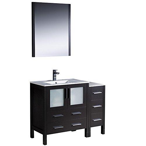 Espresso Vanity Bathroom Modern (Fresca FVN62-3012ES-UNS-FFT1030BN Torino Modern Bathroom Vanity with Side Cabinet & Integrated Sink, 42