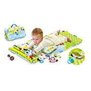 Tummy Time Musical Baby Activity Mat Playmat Play Center Motorized Motion Track With 2 Characters And Fold Up Case