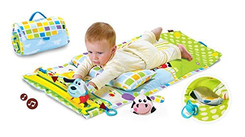 Yookidoo Tummy Time Musical Baby Activity Mat Playmat Play Center Motorized Motion Track with 2 Characters and Fold Up Case 04/40127