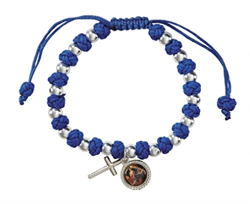 - Religious Gifts Silver Tone Mary Untier Knots Blue Cord Rosary Bracelet, 8 Inch