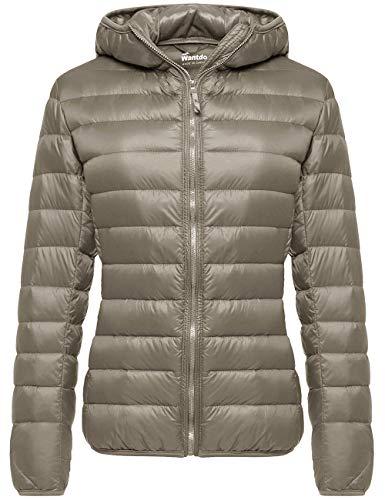 Wantdo Womens Hooded Packable Ultra Light Weight Down Coat Short Outwear,Khaki,US Medium/Asia XL