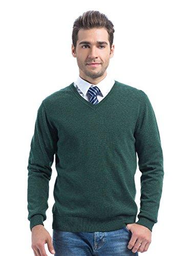 Choies Men's Dark Green V Neck Rib Trim Long Sleeve Sweater M Cotton Rib V-neck Sweater