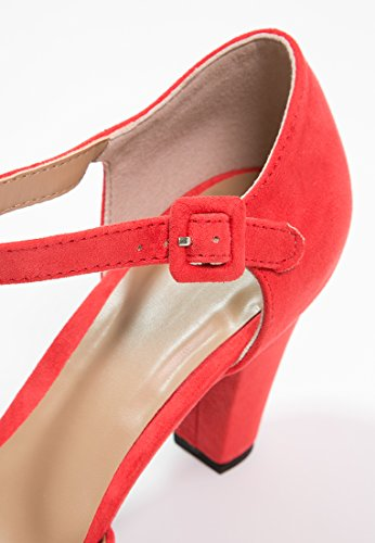 de Cortas Calientes Rojo Coñac o de Negro Botas Chelsea de Gamuza Tacón Cuero Anna Botas Bajo Botas de Elegantes Imitación de Ante de Mujer EN Botines con Mujer Coñac Field wqA7pB