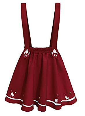 Doballa Women's Cute Cat Paw Embroidered Adjustable Suspender Lolita Mini Skirt