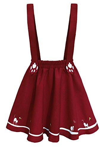Doballa Women's Cute Cat Paw Embroidered Adjustable Suspender Pleated Lolita Mini Skirt (L, Burgundy) (Cotton Lolita Pleated Skirt)