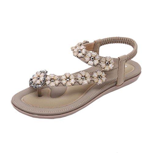 1eee22a476d8 Sandals for Womens, FORUU New Summer Flat Casual Beach Flower Rhinestone  Shoes (7, Khaki)