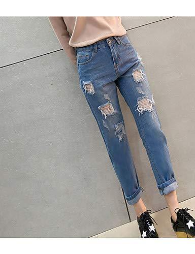 Couleur Jeans Unie Taille Femme Haute Light YFLTZ Jeans Blue Harem Pantalon 0wIqwgAF