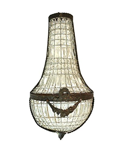 French Crystal Antique Replica Wall Sconce Light Fixture Chateau Mansion (Chateau Crystal Sconce)