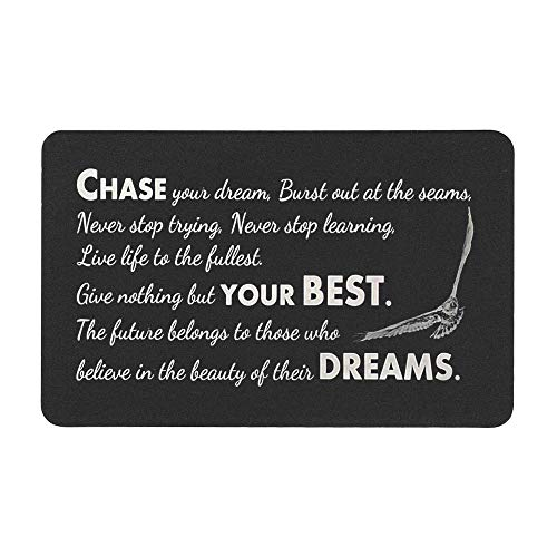 Chase Your Best Dream Personalized Photo Text Engraved Metal Wallet Mini Insert Card Note To my Son Daughter Friend Graduation