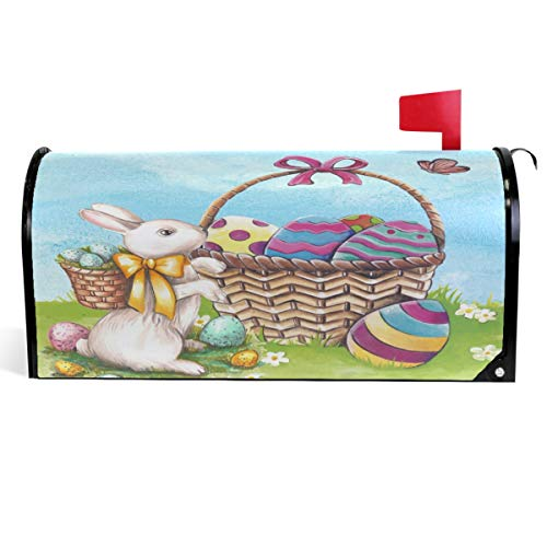 Wamika Cute Bunny Rabbit Easter Eggs Mailbox Cover Spring Flowers Butterfly Mailbox Covers Magnetic Mailbox Wraps Post Letter Box Cover Large Size 18