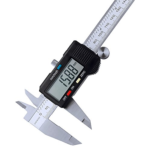 Dial Caliper Gage (Digiwise Vernier Metric Digital Caliper with LCD, 0-6 inch / 150mm Stainless Steel Electronic Depth Gauge Measuring)