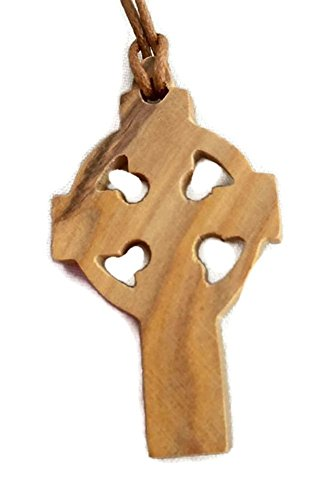 Gaelic Jewelry - Olive Wood Pendant - Celtic Cross / St. Patrick's Design HJW