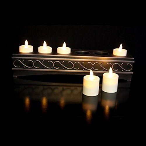 Ivory Tealight Set of 6 with Candle Holder (Candle Brass Mounted Wall Holders)