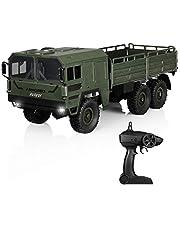 HELIFAR RC Camión Militar 1:16 6WD Camión Off-Road de Control Remoto 12 km / h Coche de Juguete con 2.4 GHz Idea de Regalo de Control Remoto para fanáticos y niños (Army Green)