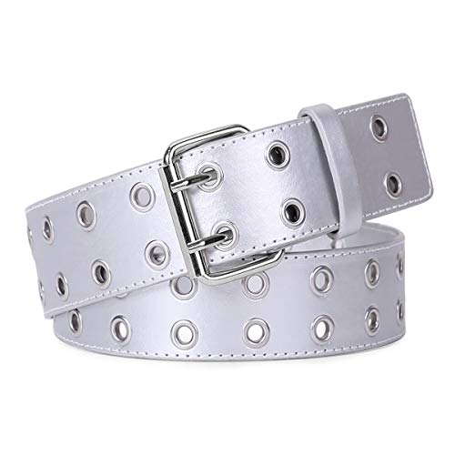 WERFORU Double Grommet Belt PU Leather 2 Holes Belt White Punk Belt with Double Prong Buckle(Silver,Pant size below 40Inch)