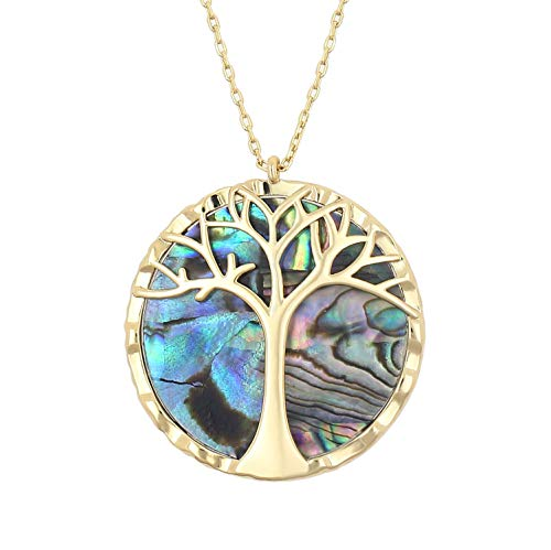 (KISSPAT 14K Gold Abalone Shell Tree of Life Round Pendant Necklace Family Tree Jewelry for Women)