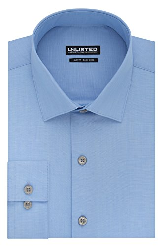 Kenneth Cole REACTION Men's Unlisted Slim Fit Solid Spread Collar Dress Shirt, Light Blue, 16''-16.5'' Neck 34''-35'' Sleeve by Kenneth Cole REACTION