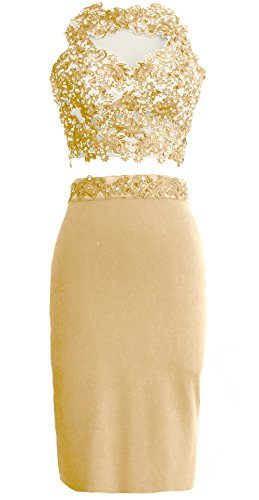 MACloth Gorgeous 2 Piece Jersey Cocktail Dress Short Prom Homecoming Formal Gown Champagne