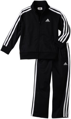 adidas Toddler Boys' Iconic Tricot Jacket and Pant Set, Black/White, 3T