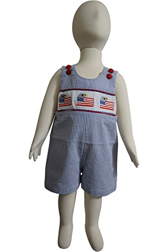 Dana Kids Little Boys July Fourth Patriotic Eagle Flags Smocked Shortall 6M to 4T (6 Months) Navy ()