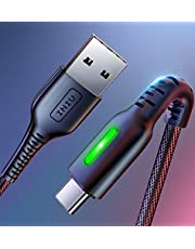 【3 Pack】INIU USB C Charge Cable, [1.6+3.3+10ft] 3A Fast Charging Nylon Braided Type C Cable, Reinforced Necks Tangle-Free Phone Data USB Charger Cord with Organizing Strap for Samsung Galaxy S10 S9 Note 10 9 Huawei Google HTC Motorola etc.