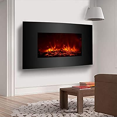 Tremendous Kuppet 33 Electric Fireplace Wall Mount With Heater Adjustable Space Heater With Realistic Brightly Burning Fire And Simulation Wood Xl Large With Best Image Libraries Counlowcountryjoecom