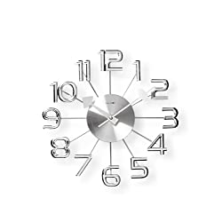 Telechron Clocks Ultra-Modern Numeral Wall Clock, Silver