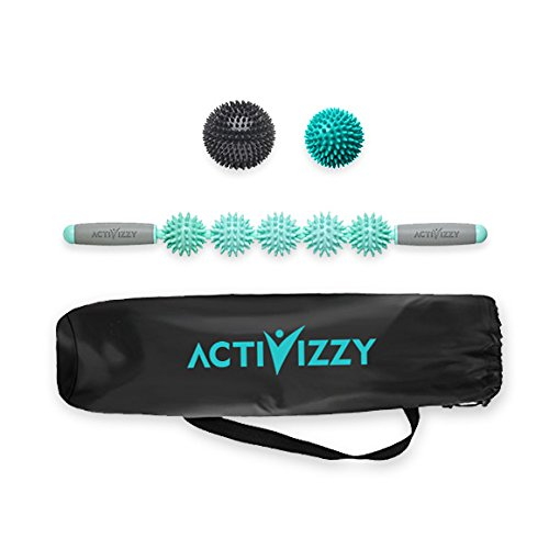 Activizzy 5-Ball Spiky Muscle Roller Stick Set for Self-Massage, Soreness, Tightness – Includes 2 Extra Spiky Balls, Myofascial Release Kit