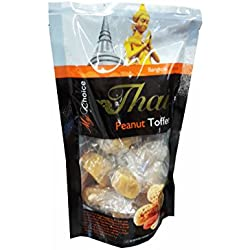3 packs of Peanut Toffees, Delicious Snack from My Choice Thai brand, 4 or 5 strar OTOP rating approved. No artificial flavours, No artificial colours. (120 g/ pack)