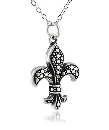 Sterling Silver Fleur De Lis Charm Pendant Necklace, 18 Inch Chain