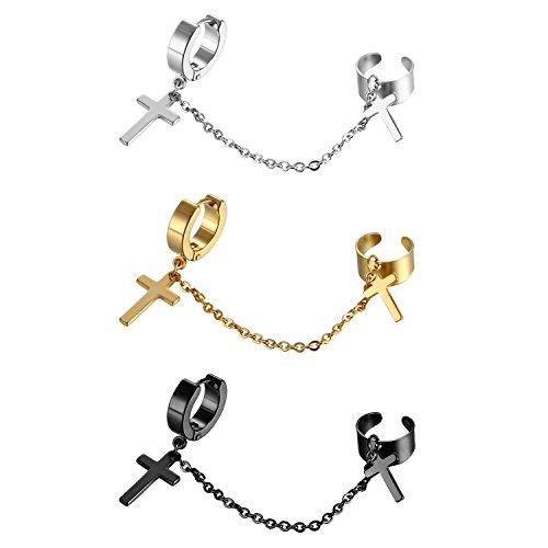 Stainless Steel Huggie Clip On Cross Dangle Earrings, Non-Piercing Ear Cuffs Cross Cartilage Earrings for Men Women Punk Rock Dressing