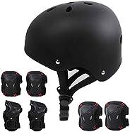 Kids Protective Gear Set - Helmet, Knee and Elbow Pads, Wrist Guard, Age 4-10, for Skateboard, Bike, Skates, S