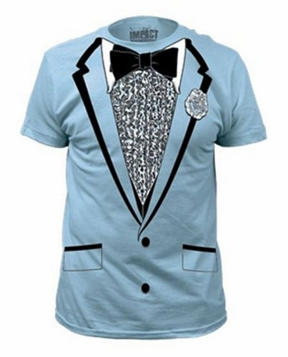 Impact Original Retro Prom Tuxedo Light Blue T-Shirt, Small