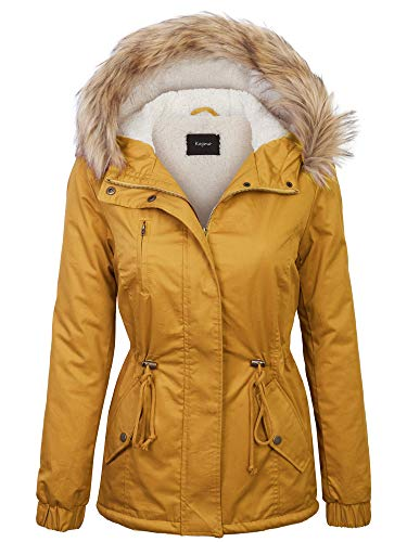 KOGMO Womens Sherpa Lined Zip Up Anorak Jacket Parka with Fur Hoodie-M-Mustard