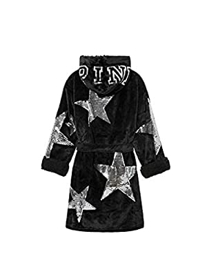 Victoria's Secret Pink Bling Cozy Hooded Sherpa-Lined Plush Short Robe, Fashion Show Star Sequins