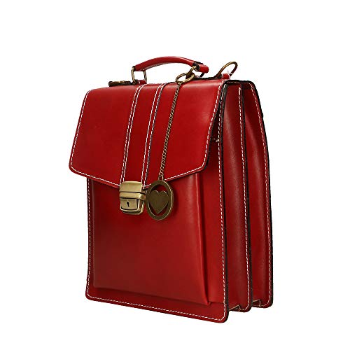 Italy Cm Shoulder Red Genuine In Organizer Bag Made Small 27x32x10 Briefcase Leather Borse Chicca a4qwxgvAn