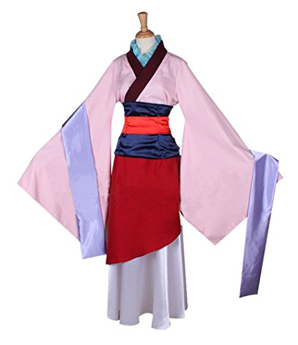 Super Coser Kids Womens Cosplay Costume Heroine hua Mulan Halloween Dress (Pink, -