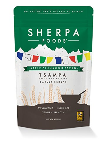 Peak Sherpa Apple Cinnamon Pecan Tsampa Cereal, One 8 Ounce Pouch, Ready to Eat, Certified Organic, Sprouted & Roasted Whole Grain Barley Cereal