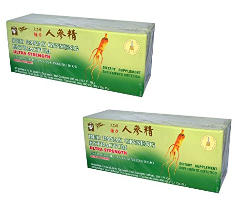 Panax Ginseng Extractum 10 Vials - Prince of Peace, Red Panax Ginseng Extractum, Ultra Strength, 2Pack (30 Bottles (10 cc) Each) Yhkvl