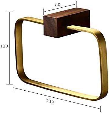 タオルラック、タオルバー、ドアハンガー、バスルームタオルバー、バスルームタオルリング真鍮のブラシをかけられたバスルームタオルノルディックタオルラックホテル壁掛けタオルリング (Color : Gold)