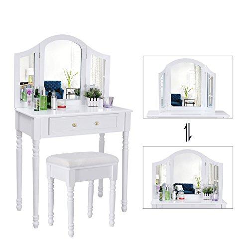114 99 songmics coiffeuse meuble blanctable de maquillage commode avec 3 mi - Coiffeuse meuble blanc ...
